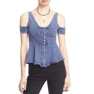 ✨FREE PEOPLE✨Little House Cold Shoulder Top